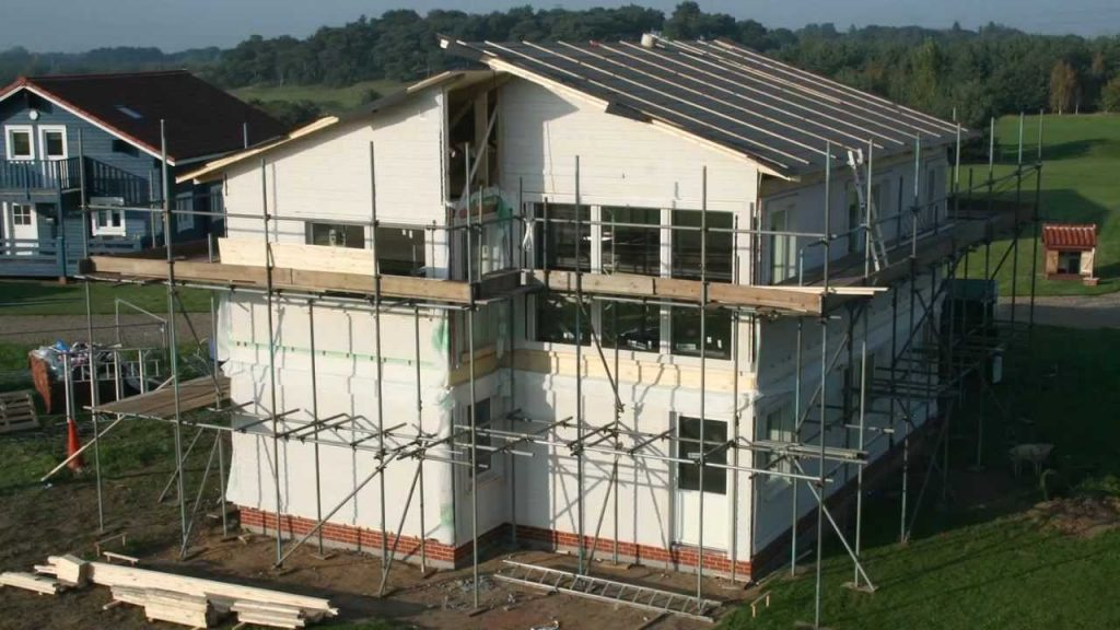 pre-manufactured timber frame house construction time lapse video